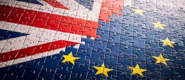 uk flag - EU flag - brexit